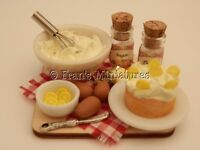 Dolls house food: Making frosted lemon cake prep board -By Fran