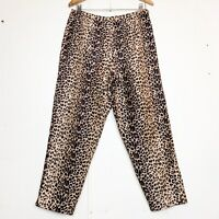 Vintage SLB Petite Silk High Waisted Leopard Print Crop Pants Size 12p