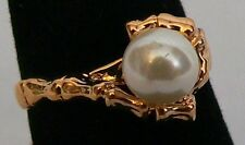 Park Lane Retired Hostess Ring Glass Pearl  w/ Bamboo Setting Pretty! Size 7