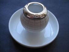 1909 Vintage Silver Rimmed Golfball Shaped Ceramic Matchholder/Striker/Ashtr ay
