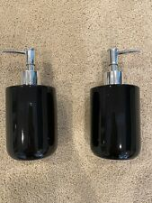 NEW set of 2 Mainstays black ceramic w/ chrome pump soap lotion pumps dispensers