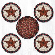 PRIMITIVE BARN STAR 100% Natural Braided Jute Coaster Set of 4 with Jute Basket