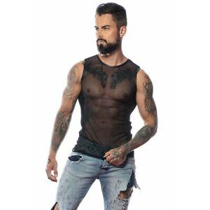 Patrice Catanzaro, Adrien, T-Shirt Tank Top Sexy Black IN Mesh Fishnet