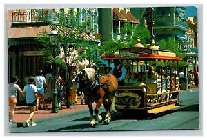 Vintage 1984 Postcard Walt Disney Worlds Trolley Ride on Main Street Orlando FL