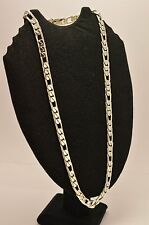 Taxco Mexico Long 925 Sterling Silver Figaro Chain Necklace. 112g, 65cm, 26""