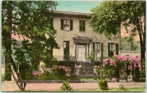 "SAVANNAH Georgia Hand-Colored Postcard ""The Low House in Lafayette Square"" 1930s"