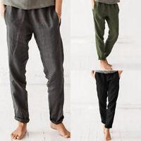 ZANZEA Femme Pantalon Couleur Unie Poche Harlan Taille elastique Casual Longue