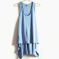 COS Racerback High Low Tunic Tank Top in Light Blue Size XS Retail $78