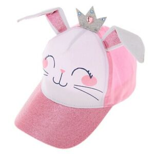 Claire's Hat Baseball Cap Pink Bunny Glitter Crown NWT