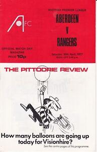 Aberdeen Home Programmes Season 1976-1977