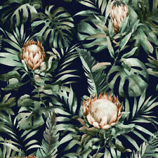 Navy Blue Monstera Palm & Floral Tropical Wallpaper - 10m Roll - NEW DESIGN