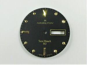 USED RARE HAMILTON SEA HAWK 60 SWISS QUARTZ DAY/DATE BLACK WATCH DIAL