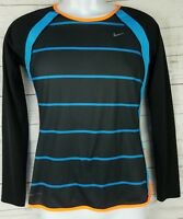 Nike Dry Fit Mens Long Sleeve Striped Althletic Shirt Size Small