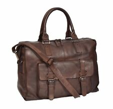 Real Leather Holdall Weekend Bag VINTAGE Brown Travel Cabin Overnight Duffle Bag