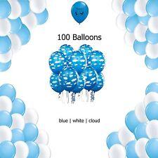 Cloud Airplane Balloon Decoration - Blue, White and Cloud Latex Balloon 100 c...