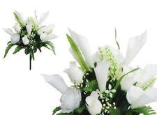 "White Rose Lily 17"" Bouquet Poly Silk Wedding Bridal Home Decor Craft Flower"