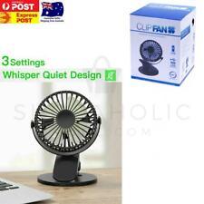 360° Portable Travel Fan USB Rechargeable Clip On Mini Desk Fan Pram Cot Car