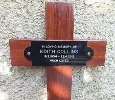 "Wooden Memorial Cross Grave Marker 17"" & Free Plaque & Engraving"