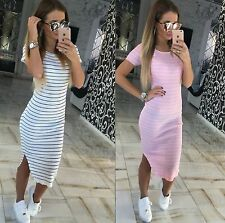 Unbranded Plus Size Striped Cotton Blend Dresses for Women