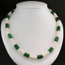 Kette grüne Jade 8 x 13 mm, weiße Zuchtperlen, Sterlingsilber, Wert 1100 €, neu