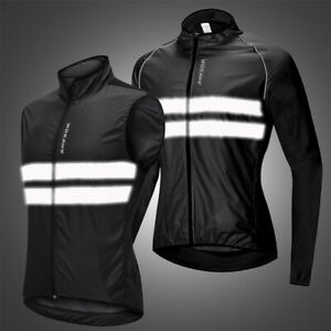 Windproof Cycling Jacket Reflective MTB Bike Vest Tops Quick Dry Windbreaker Men