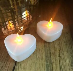 NEW 8 Heart Shaped Battery Operated Flickering LED Tea Light Candles Valentines