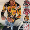 Long Sleeve Fit Men's Tops Casual Fashion Slim Flower T-Shirt New Printed Blouse