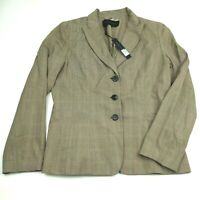 NWT Elie Tahari Size 12 Womens brown Jacket Blazer Three Button Long Sleeve