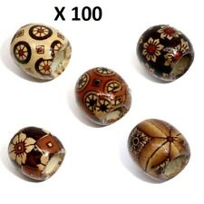 100 X WOOD SPACER BEADS, MIXED COLOUR, 17MM X 16MM, BARREL BEAD