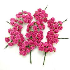 100 x 18 mm Dollhouse miniature flowers roses pink paper crafts wedding bouquet