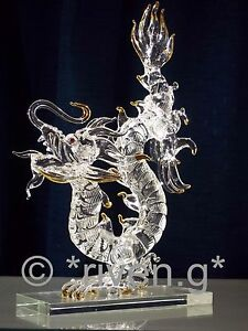 CHINESE DRAGON Figurine@HUGE CARNIVAL MYTHICAL BEAST@UNIQUE CRYSTAL Glass Gift@