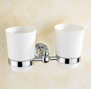 Polished Chrome Brass Bathroom Two Cups Wall Mounted Toothbrush Holder 2ba908