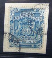 Rhodesia 1892 - 1893 £1 Deep Blue Fine Used on piece SG10