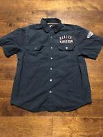 Harley Davidson Motorcycles Zip Up Work Shirt Men Size Medium Black Spell Out
