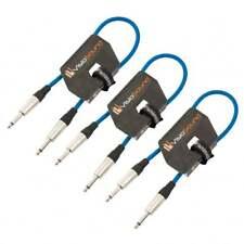 3 x Câble guitare Jack à Jack mono 6,35mm / Instrument / Câble patch / 0.5m Bleu