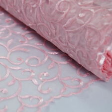 Viscose Embroidered Organza Fabric Dress Curtain Wedding 130cm Wide