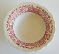 "Syracuse China Small Soup Bowl USA 98-F 6"" White with Red Floral Trim"