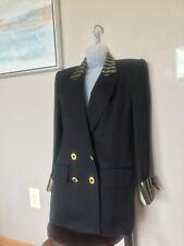 Criscione Ny 80'S-90'S Women Xs/S Black Gold Stripes Logo Buttons Blazer Jacket