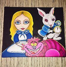 "Alice In Wonderland Original Painting In Canvas 12""x10"""
