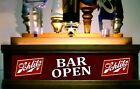 SCHLITZ BEER TAP HANDLE DISPLAY LED LIGHTED HOLDS 7 TAPS / BAR SIGN