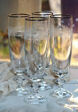 ELEGANT SET OF FOUR VINTAGE PALL MALL STYLE CHAMPAGNE FLUTES WITH GOLD RIMS