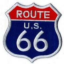 PATCH THERMOCOLLANT  ROUTE 66 -BLEU -USA -7 X 7 CM- NEUF -DECORATION USA /BIKER