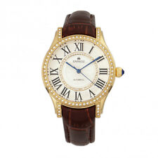 Empress Xenia Automatic Crystal Genuine Leather Brown Watch EM2603