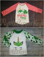 NEW Boutique St Patricks Day Unicorn Girls Ruffle Sleeve Shirt