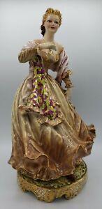 "Carlo Mollica Capodimonte Italy Large Porcelain Figurine Woman Dancing 15 1/2"""