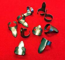 10er Set Fingerringe Fingerpicks aus Blaustahl - roh, rostig