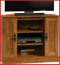 Corner TV Stand Flat Screen Entertainment Center Console Media Cabinet Oak Wood
