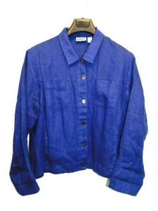 Chico's Size 2 L Dark Royal Blue Linen Shirt Long Sleeve Button Front Collared