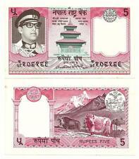 NEPAL 5 RUPEES 1974 SIGN 10 AUNC P 23