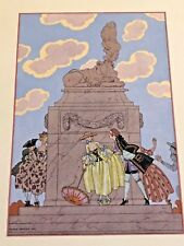 GEORGE BARBIER POCHOIR 1928 FETES GALANTES FRENCH GOUACHE RARE 1 OF 17